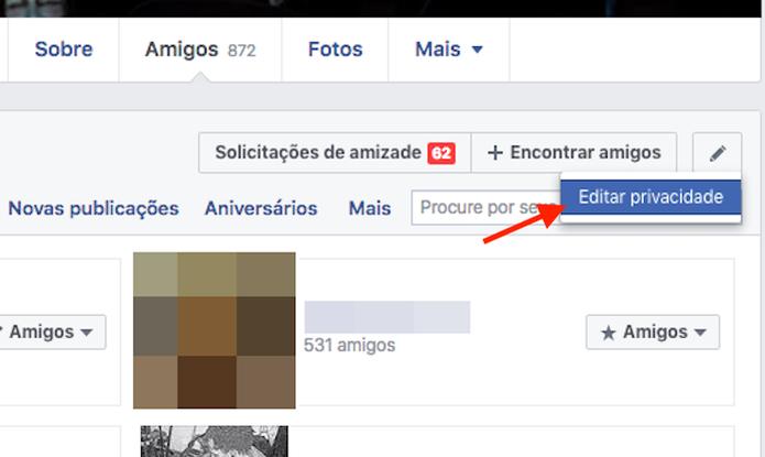 Acessando as opções de privacidade para a lista de amigos do Facebook (Foto: Reprodução/Marvin Costa) (Foto: Acessando as opções de privacidade para a lista de amigos do Facebook (Foto: Reprodução/Marvin Costa))