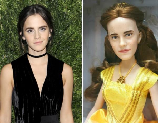 Emma Watson e a boneca de 'A Bela e a Fera' (Foto: Getty Images/Reprodução)