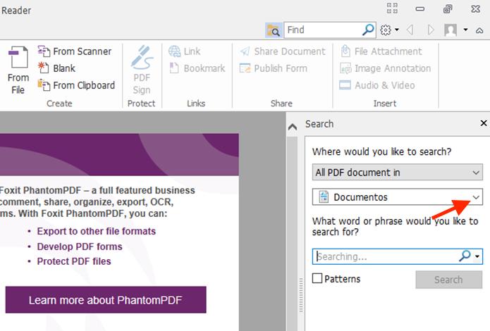 Acessando a opção para selecionar uma pasta específica de busca no Foxit Reader (Foto: Reprodução/Marvin Costa)