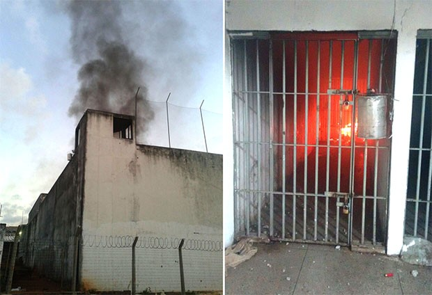 Em Alcaçuz e na Cadeia Pública de Natal, presos se rebelaram e atearam fogo em celas (Foto: G1/RN)