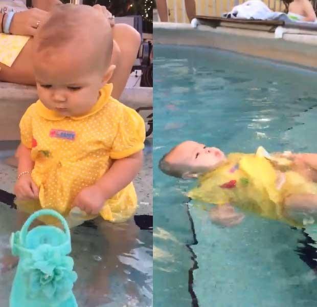 Josie na piscina - antes e depois de cair na água (Foto: Reprodução - Facebook)