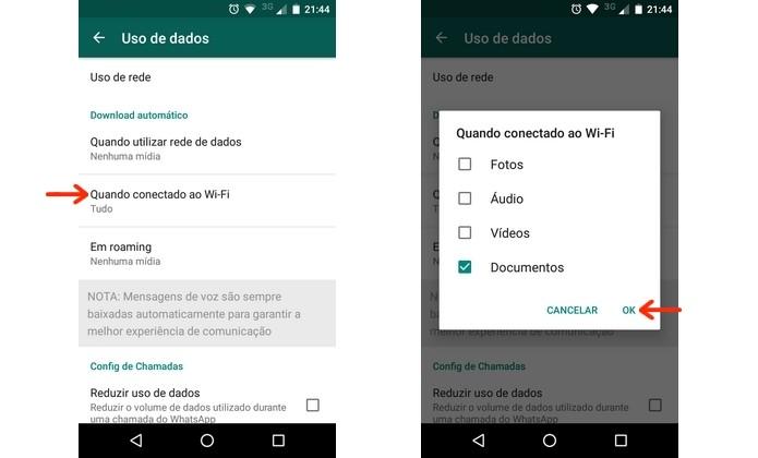 Desativação do download de fotos e mídia no WhatsApp com Wi-Fi (Foto: Reprodução/Raquel Freire)
