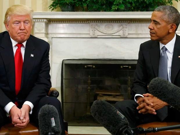 Encontro de Barack Obama e Donald Trump aconteceu na Casa Branca, na quinta-feira (10)  (Foto: Kevin Lamarque/ Reuters)