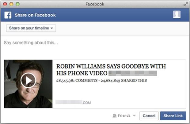 Golpe virtual para compartilhar link no Facebook de vídeo inexistente sobre o ator morto Robin Williams. (Foto: Reprodução/Facebook)