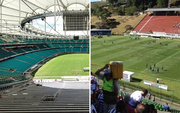 Fonte Nova e Estádio de Juiz de Fora (Foto: Montagem sobre foto da AFP)