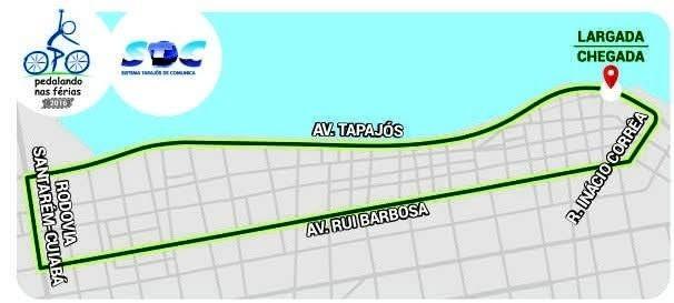 Percurso da terceira edição do Pedalando nas Férias que acontece neste sábado (9) em Santarém (Foto: Arte/TV Tapajós)