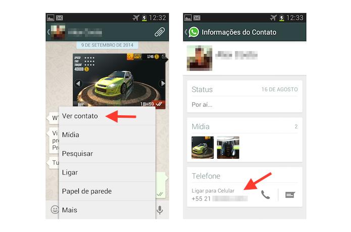 Iniciando uma ligação telefônica comum através do WhatsApp para Android (Foto: Reprodução/Marvin Costa)
