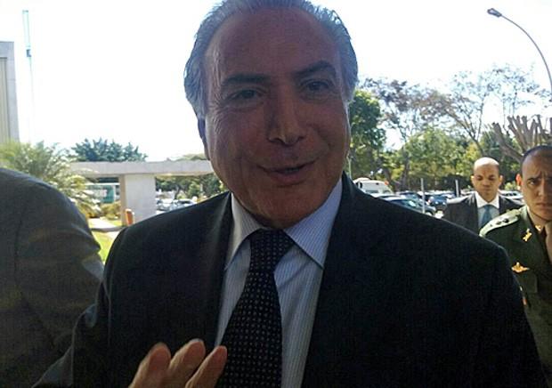 O vice-presidente Michel Temer se reúne com líderes da Câmara no Palácio do Planalto (Foto: Marianna Holanda / G1)