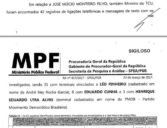 Trecho de relatório da PGR sobre quebra de sigilo do ex-presidente da OAS, Léo Pinheiro (Foto: Reprodução)