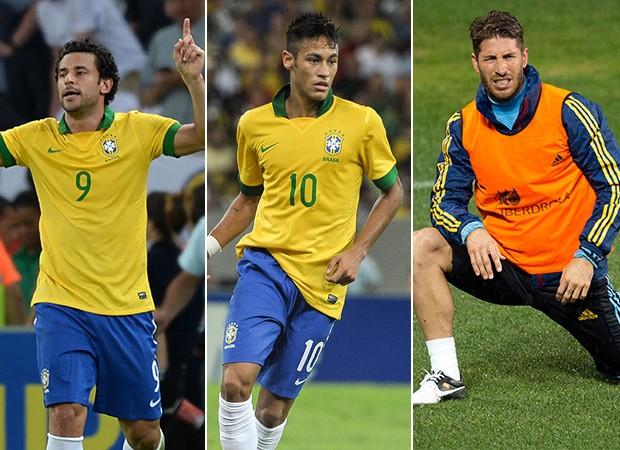 Neymar, Fred e Piquet (Foto: Agência AFP)