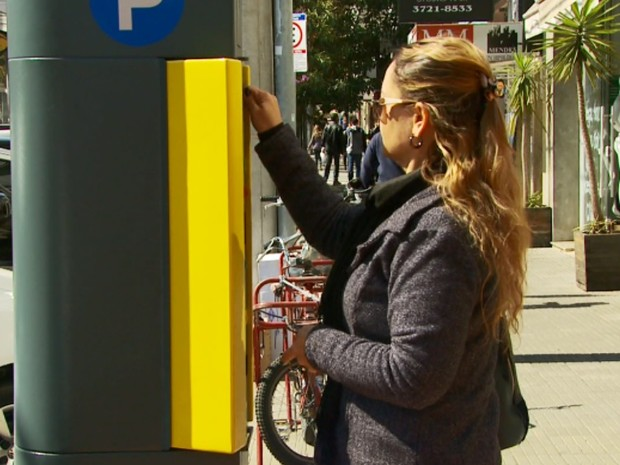 Comerciantes pedem mudança no sistema da Zona Azul em Poços de Caldas (Foto: Reprodução EPTV)