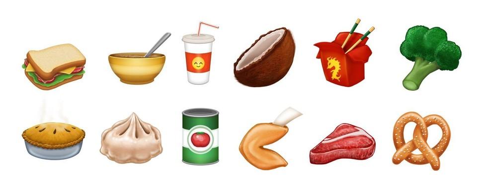 Itens da culinária asiáticas e brócolis são destaques das comidas (Foto: Reprodução/Emojipedia)