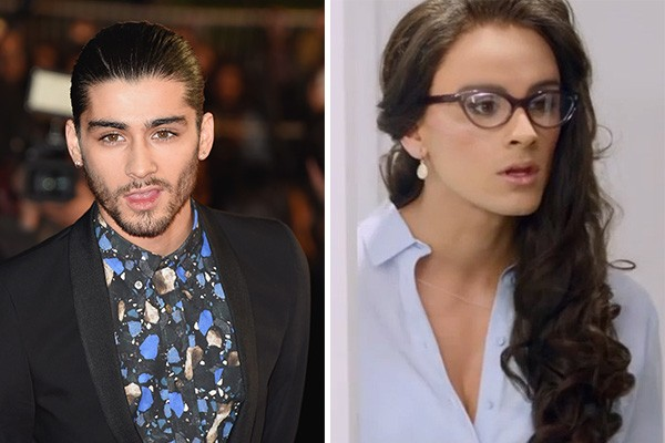 Zayn Malik interpretou Veronica, a assistente sexy no clipe do single 'The Best Song' do One Direction, banda da qual faz parte. (Foto: Getty Images e Divulgação)