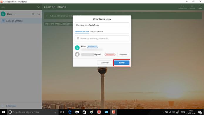 Wunderlist terá criará lista após usuário clicar no botão Salvar (Foto: Reprodução/Elson de Souza)