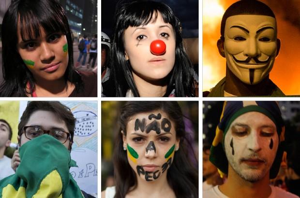Alguns manifestantes ao redor do Brasil (Foto: Ap Photo)