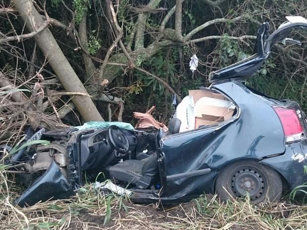 Dois idosos morreram em Imbituba após carro sair de pista e bater em árvores (Foto: PRF/Divulgação)