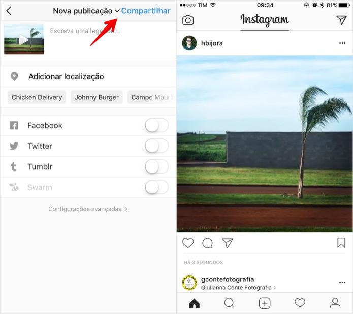 Compartilhando a sua Live Photo no Instagram (Foto: Reprodução/Helito Bijora)