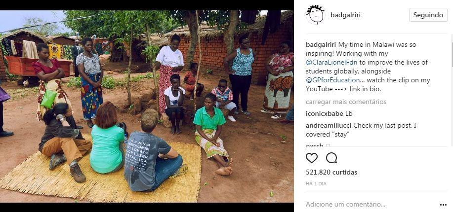 Rihanna visita o Malawi (Foto: Reprodução/Instagram)