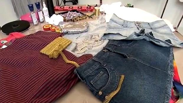 Materiais como paetês , fitas e laços podem ser usados na customização das roupas (Foto: Reprodução EPTV)