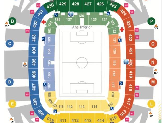 Mapa de setores da Arena Pernambuco (Foto: Reprodução)