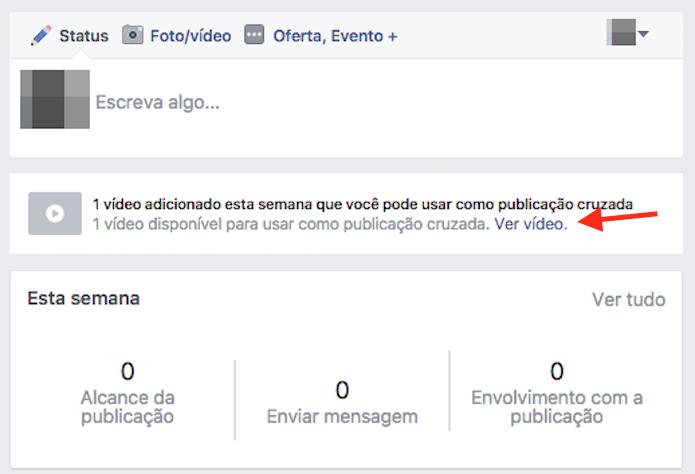 Opção para visualizar um vídeo compartilhado através de postagem cruzada entre páginas do Facebook (Foto: Reprodução/Marvin Costa)