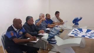 Diretoria da Portela durante a coletiva de imprensa (Foto: Divulgação/Raphael Perucci)