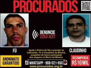 Aumenta a recompensa por informações sobre Fu e Claudinho da Mineira (Foto: Divulgação/ Disque-Denúncia)