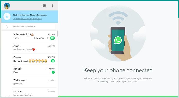 WhatsApp precisa de celular para funcionar (Foto: Reprodução/Thiago Barros)