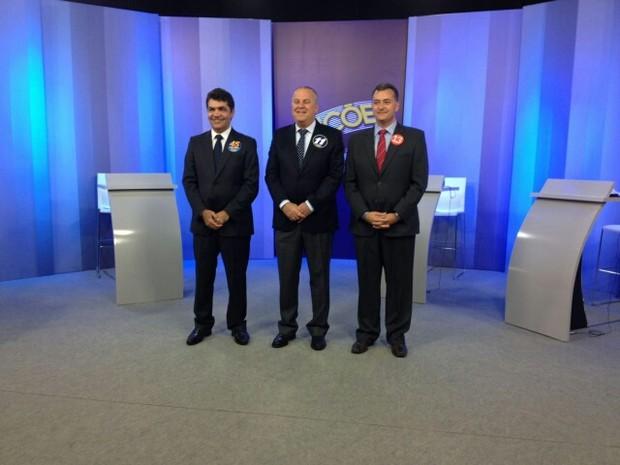 Candidatos à prefeitura de Criciúma nos estúdios da RBS TV (Foto: G1 SC)