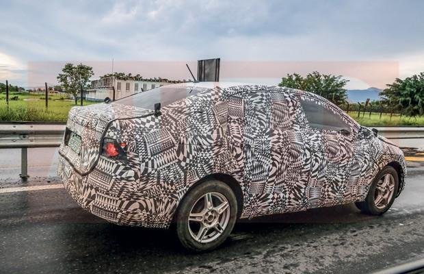 Flagramos o novo Volkswagen Virtus rodando no  Brasil (Foto: Autoesporte)