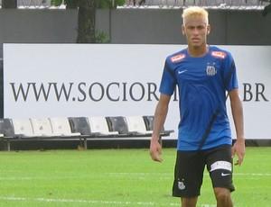 Neymar loiro treino Santos (Foto: Marcelo Hazan)