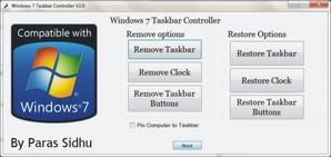 Windows 7 Taskbar Controller, personalização da barra de tarefas