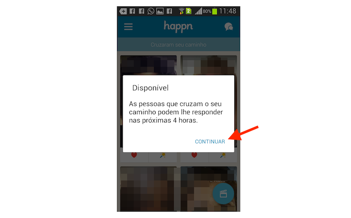 Confirmando o status de sugestão de programa a dois do Happn no Android (Foto: Reprodução/Marvin Costa)