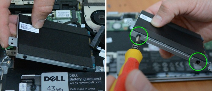 Há suportes para HD em notebook que utilizam parafusos para evitar vibração do HD (Foto: Reprodução/Adriano Hamaguchi)