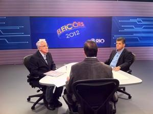 Candidatos Alexandre Cardoso e Washington Reis debatem propostas para Duque de Caxias (Foto: Cristiane Cardoso/ G1)