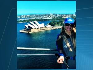 Divinopolitana fez foto perto da Sydney Opera House pouco antes do sequestro (Foto: TV Integração/Reprodução)