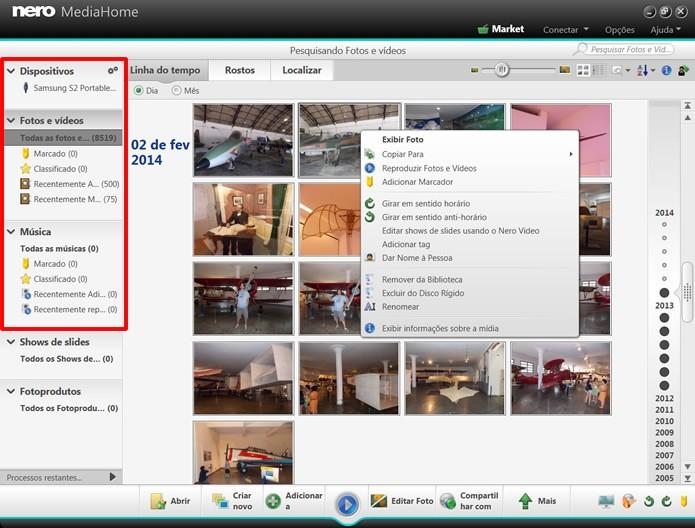 O Nero Media Home permite que você visualize e reproduza suas mídias através de uma interface que facilita a navegação por seus arquivos (Foto: Reprodução/Daniel Ribeiro)