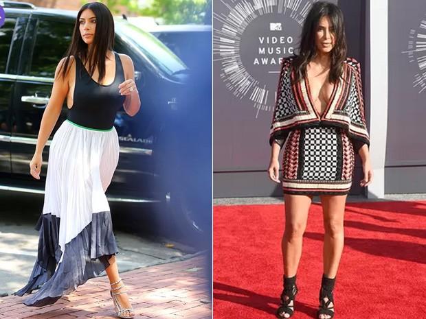 Kim Kardashian - ANTES e DEPOIS (Foto: AKM GSI | AFP)
