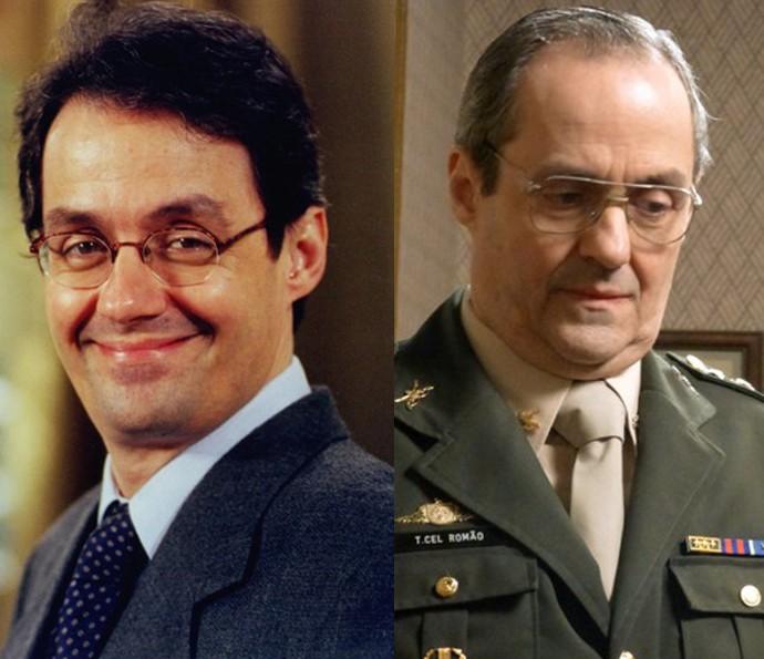 À esquerda, Daniel Dantas como Tadeu, marido de Stela (Maria Padilha), em 'Anjo Mau'. À direita, em seu último trabalho na TV, como Elísio, o militar linha-dura de 'Boogie Oogie' (Foto: CEDOC / TV Globo e Gshow)