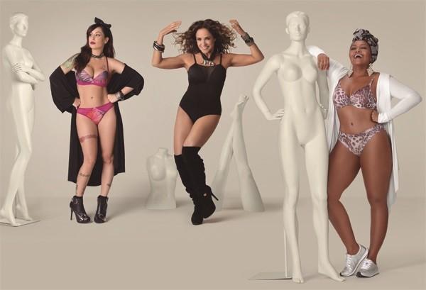 Pitty, Daniela Mercury e Gaby Amarantos: estilo de cada uma se reflete nas lingeries da campanha (Foto: Divulgação)