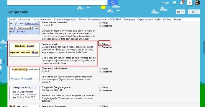 Ative a opção Cancelar e-mail (Reprodução/Taysa Coelho)