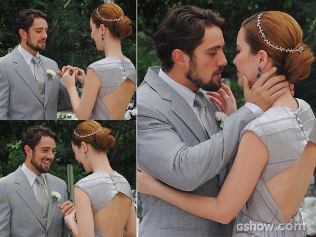 Apaixonados, Sílvia e Viktor trocam juras de amor (Foto: Joia Rara/ TV Globo)