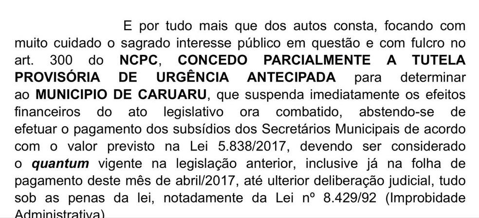 Juiz determinou que reajuste não seja efetivado em abril (Foto: Mário Flávio/G1 Caruaru)