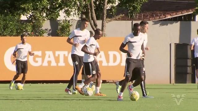 Santos treina para enfrentar o Corinthians (Foto: Reprodução/TV Tribuna)