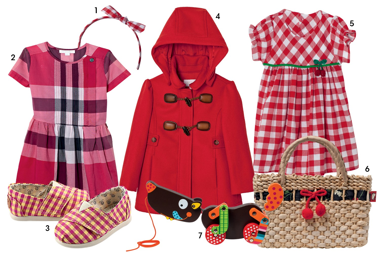 (1) tiara Gap, R$ 50; (2) vestido Burberry, R$ 750; (3) sapato Perky, R$ 90; (4) casaco Gucci, R$ 2.060; (5)  vestido Pinni, R$ 200; (6) bolsa L'été, R$ 144; e (7) brinquedo Coelho da Lua, R$ 111 (Foto: Reprodução/Vogue Brasil)