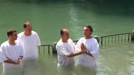 Bolsonaro e Pastor Everaldo no Rio Jordão