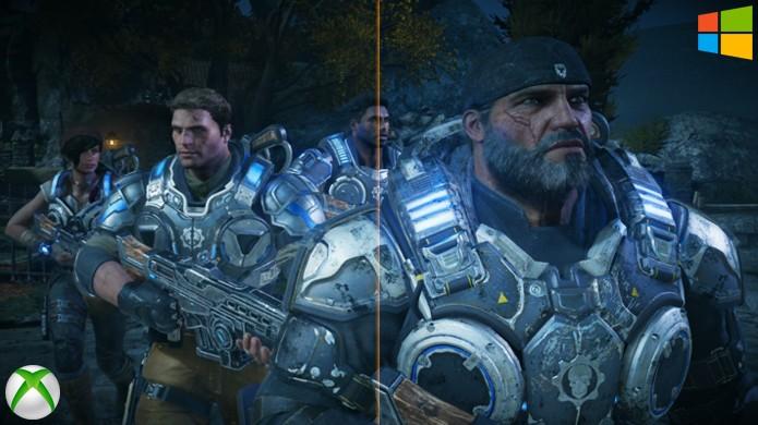 Ao separar metade de uma mesma cena de Gears of War 4 entre ambas as versões é difícil notar a divisão (Foto: Reprodução/Hardcore Gamer)