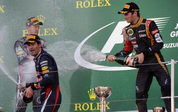 Romain Grosjean no pódio do GP do Japão (Foto: AFP)