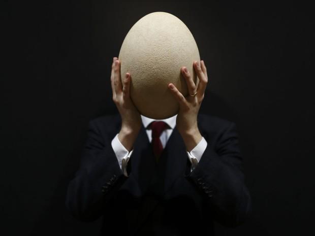 O ovo centenário de uma espécie extinta de ave que era nativa da Ilha de Madagascar, na África, vai ser leilado em Londres no dia 24 de abril. (Foto:  Justin Tallis/AFP)