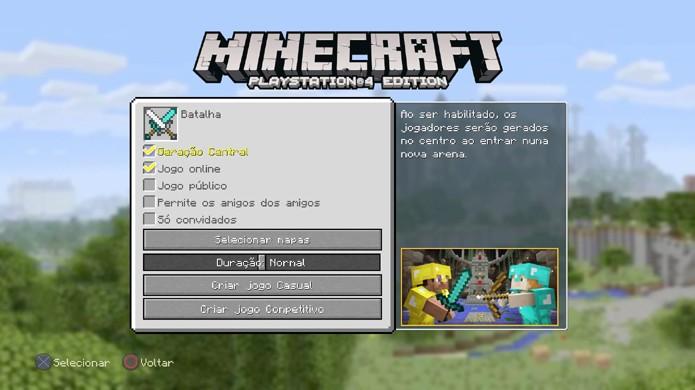 Escolha as opções adequadas para criar sua sala de batalha em Minecraft do jeito que deseja (Foto: Reprodução/Rafael Monteiro)